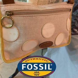 Fossil Polka Dot Canvas Crossbody